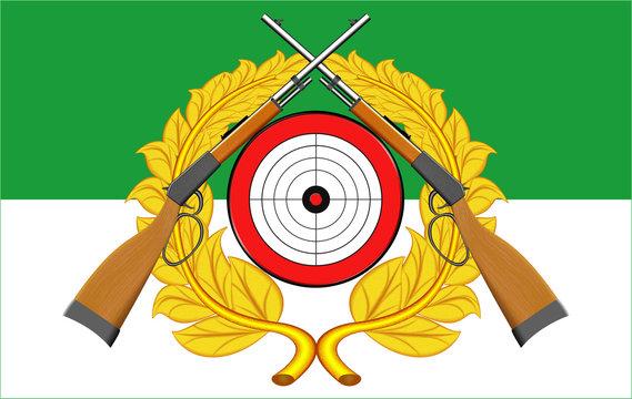 Schützenfest, Banner mit Zielscheibe, Gewehren und Lorbeerkranz, traditionelles Fest der Schützenvereine in Deutschland
