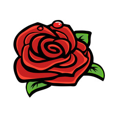 Rose flower, vector illustration. Red bud and green leaves on white background.