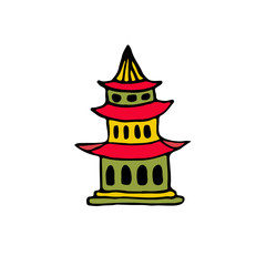 Japanese building icon. Vector illustration.