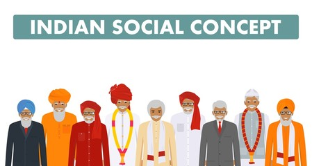 Social concept. Group indian senior people standing together in different traditional national clothes on white background in flat style. Vector illustration.