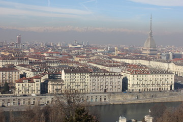 the city of Turin in Italy. view from the observation deck near the monastery of Capuchin monks