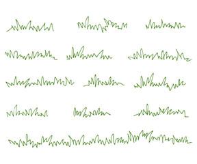 Fototapeta Set of green grass tufts, clip art, transparent background obraz