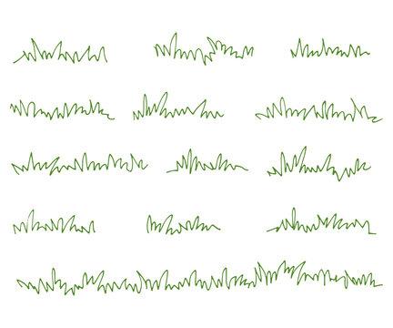 Set of green grass tufts, clip art, transparent background