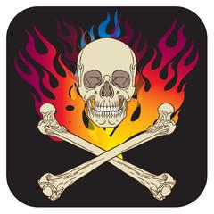 Skull flame icon black