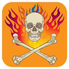 Skull flame icon orange