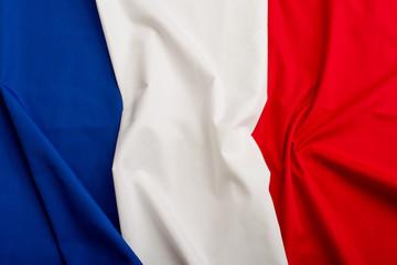 France flag. French symbol design for background. Blue, white and red flag. 3D Flag of France.Sovereign French symbol of France country in official colors.European flags region.