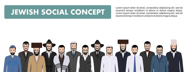 Family and social concept. Group adults jewish men standing together in different traditional clothes in flat style. Israel people. Differences Israelis in the national dress. Vector illustration.