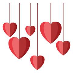 hearts love hanging decorative icon vector illustration design