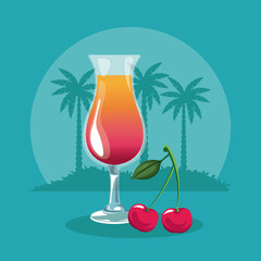 Summer cherry cocktail glass cup vector illustration graphic design