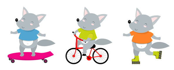 Vector illustration of sporty wolf on a bicycle, roller skates, skate. Perfect for postcard, baby book, poster, banner