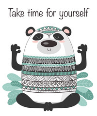 Vector cartoon sketch meditative panda illustration with motivation phrase