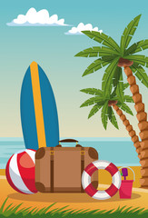 Luggage fith surf and beach ball vector illustration graphic design