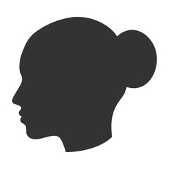 Silhouette of female head, woman face in profile, side view