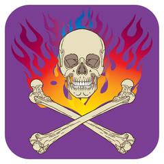 Skull flame icon purple
