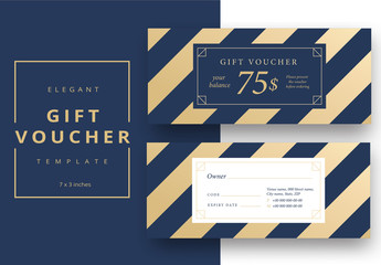 Gift Voucher Layout with Blue Diagonal Stripes