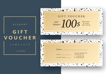 Gift Voucher Layout with Black Ink Spots