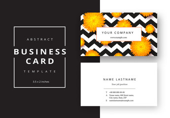 Business Card Layout with Orange Flowers