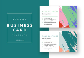Business Card Layout with Colorful Abstract Accents
