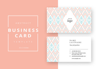 Business Card Layout with Colorful Geometric Outlines