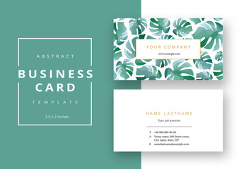 Business Card Layout with Green Plant Pattern