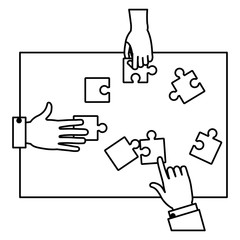 line businesspeople hands playing puzzle in the table
