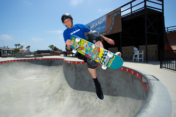 Two days before his 50th birthday professional skateboarder Tony Hawk skateboards in a pool during a photo session at the YMCA Skatepark in Encinitas, California