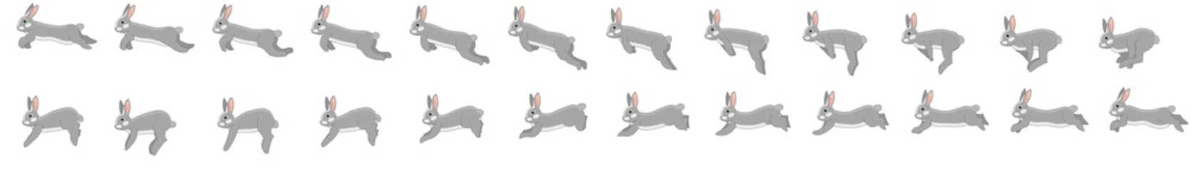Rabbit run cycle animation spritesheet