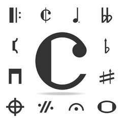 Isolated musical note, Common time icon. Detailed set of web icons and signs. Premium graphic design. One of the collection icons for websites, web design, mobile app