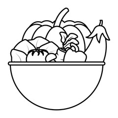 line organic vegetables natural food inside bowl