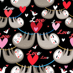 Seamless cartoon images of lovers lemurs pattern