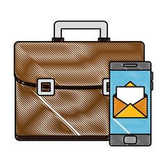 portfolio briefcase with smartphone sending email vector illustration design