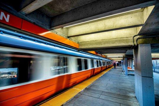 MBTA Subway Train Station at Boston, Massachusetts