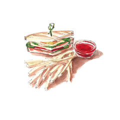 Sandwich with red fish and French fries with tomato sauce  - Watercolor sketch