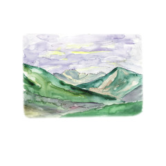 Mountain landscape with a dawn, and rainy clouds - a watercolor sketch