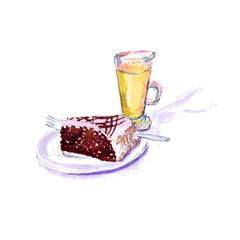 A piece of chocolate cake with glaze and a glass of juice - a watercolor sketch