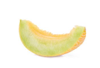 sliced pearl orange melon isolated on white background