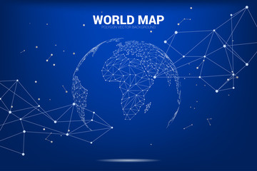 Globe 3D World map wireframe dot connect line polygon : concept of Digital network