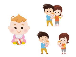 女の子の赤ちゃんとパパとママ