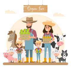 farmer family cartoon character with animals in organic rural farm.