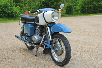 Old east german vintage retro motorbike, blue and white