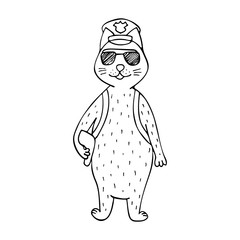 Funny hand-drawn cat police officer. Black-and-white line art.