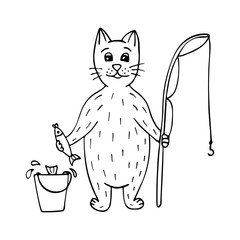 Cute hand-drawn cat fisherman with fish and a rod. Black-and-white.