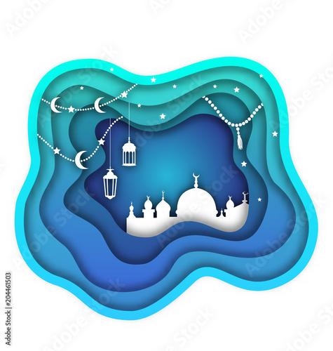 Ramadan Kareem Background, Mosque, Lamps, Moon, Stars  Islamic