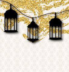 Ramadan Kareem Greeting Card Calligraphy with Traditional Lanterns