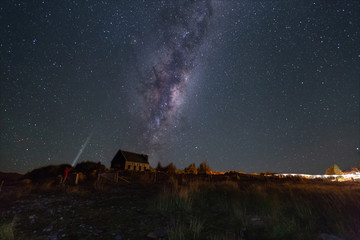 Church of Good Shepherd with milkyway is famous landmark in New Zealand.