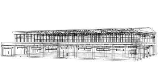 Warehouse sketch. Vector