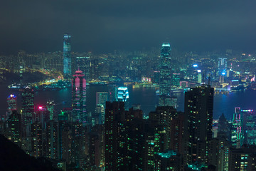 Hong Kong nightscape futuristic style