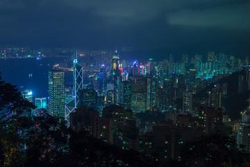 Colourful Hong Kong at night
