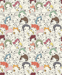 Seamless anime modern street art pattern. Cute and ugly.