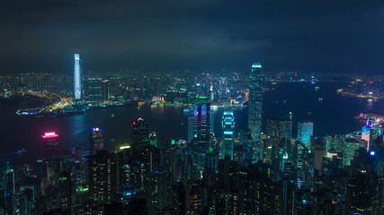 View on Hong Kong city at night with cyberpunk style